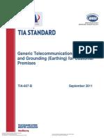 Generic Telecommunications Bonding and Grounding (Earthing) for Customer Premises