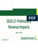 Sask. Preliminary Revenue Impacts during COVID-19