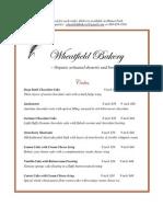 Wheatfield Bakery Menu