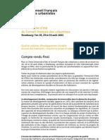 Compte-rendu des ateliers de l'université d'été de Strasbourg 2002