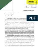 Carta de Amnistía Internacional al gobernador de Jujuy