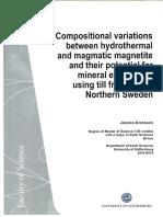 Variaciones composicionales entre magnetita hidrotermal y magmatica jessica Aronsson