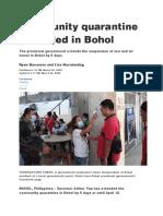Community quarantine extended in Bohol