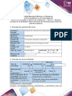 4. Guía de actividades y rúbrica de evaluación - Tarea 4 - Diseñar un plan de actividades de lectura y escritura para niños de primera infancia
