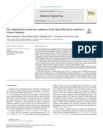 The comminution energy-size reduction of the Bond Mill