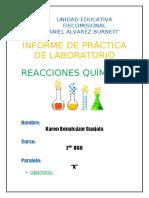 Reacciones Químicas... Karen Benalcázar.. 2K
