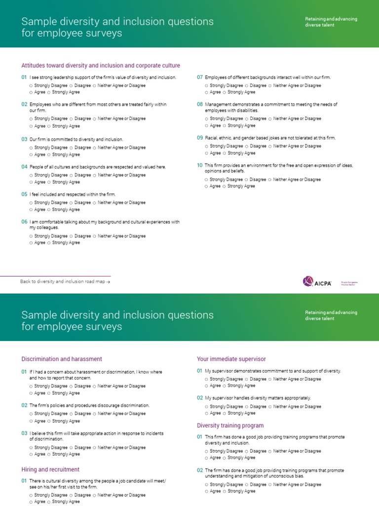 sample diversity and inclusion questions for employee