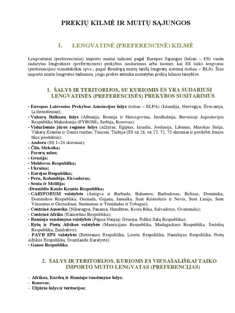 prekybos lengvatų sistemos kilmės sertifikatas