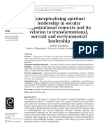 Conceptualising spiritual leadership in secular organisational contexts and its relation to transformational, servant and environmental leadership