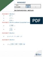 HOJA DE APLICACION - TEORÍA DE EXPONENTES (REPASO)
