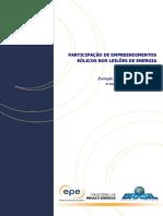 Empreendimentos Eólicos nos leilões de energia no Brasil