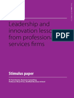 Leadership & Innovation Lessons from Professional Services Firms