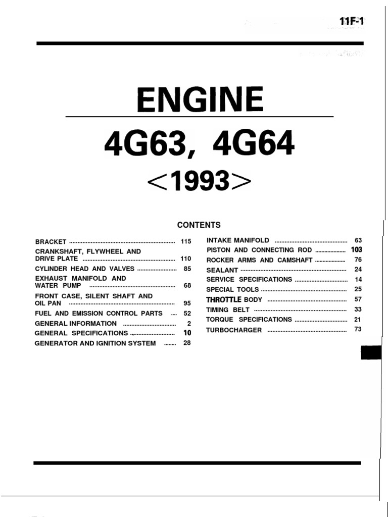 mitsubishi 4g63 4g64 engine throttle distributor rh scribd com mitsubishi engine 4g63 service manual mitsubishi 4g63 engine workshop manual