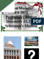 Manager's Budget Presentation FY2012