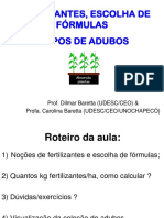 FERTILIZANTES, ESCOLHA DE FÓRMULAS E TIPOS DE ADUBOS