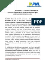 Rezolutia BPC Al PNL Privind Legea Bugetului de Stat Pe 2011 - 20 Decembrie
