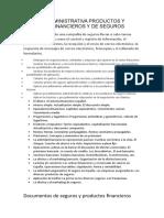 GESTIÓN ADMINISTRATIVA PRODUCTOS Y SERVICIOS FINANCIEROS Y DE SEGUROS