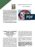 Cumbre de Cochabamba sobre cambio climático (diptico)