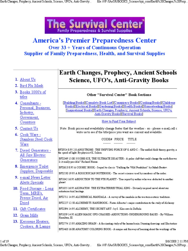 survivalist catalog alchemy shamanism