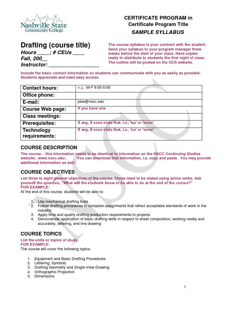 Syllabus Sample2 Technical Drawing Textbook
