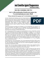 6. Internationale Konferenz gegen das Verschwindenlassen unter Haft