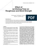 Effect of Enamel Etching Time on Roughness and Bond Strength