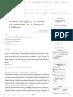 Modelos pedagógicos y teorias del aprendizaje a distancia 2011