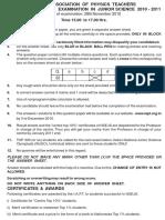 NSEJS 2010 question paper