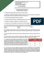 LISTA DE EXERCÍCIOS 1 - Introducao e Concentracao de soluções