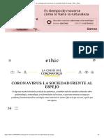 Pablo Santoro - La sociología del coronavirus. La sociedad frente al espejo