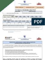 INSTRUCTIVO de llenado. Programa Analítico. PNF 2019