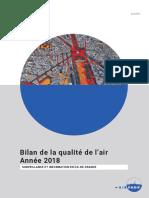 Bilan de la qualité de I'air Année 2018. Surveillance et information en ile-de-france