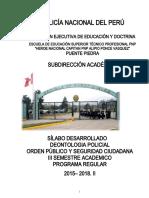 SILABO  DE  DEONTOLOGIA POLICIAL - 2016..CENTINELAS DE LA LEY 2015. 2018-II.