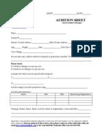 Audition Sheet - THK