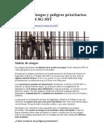 Matriz de riesgos y peligros prioritarios el centro del SG SST
