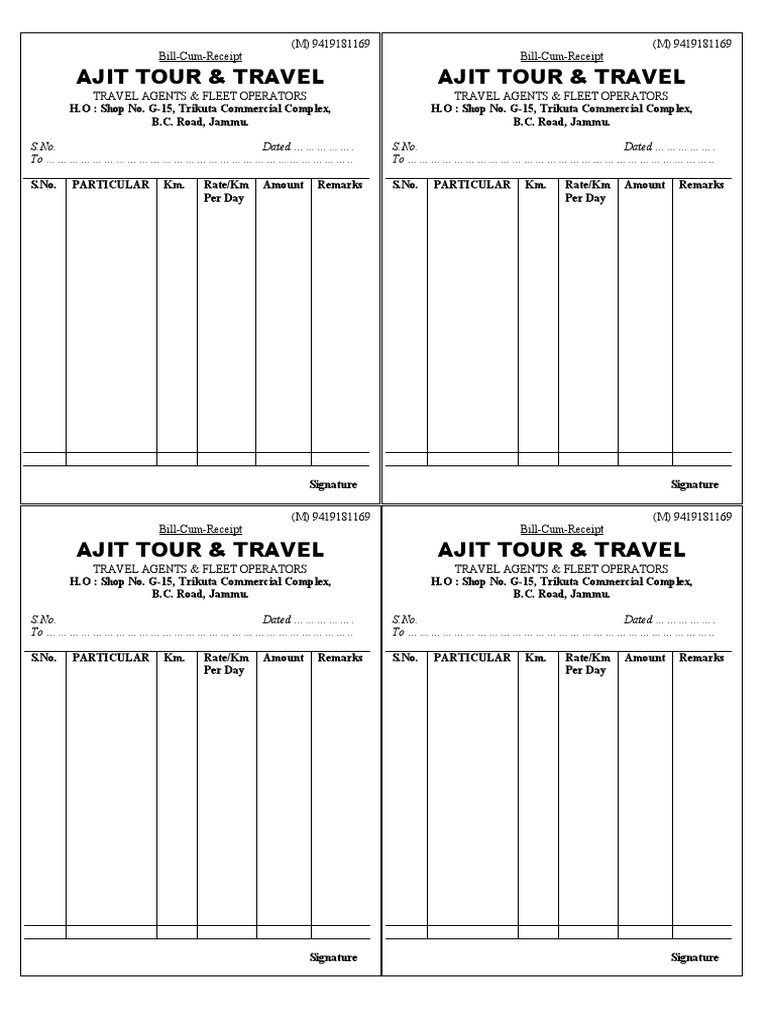 Tour Travel bill – Bill Receipt