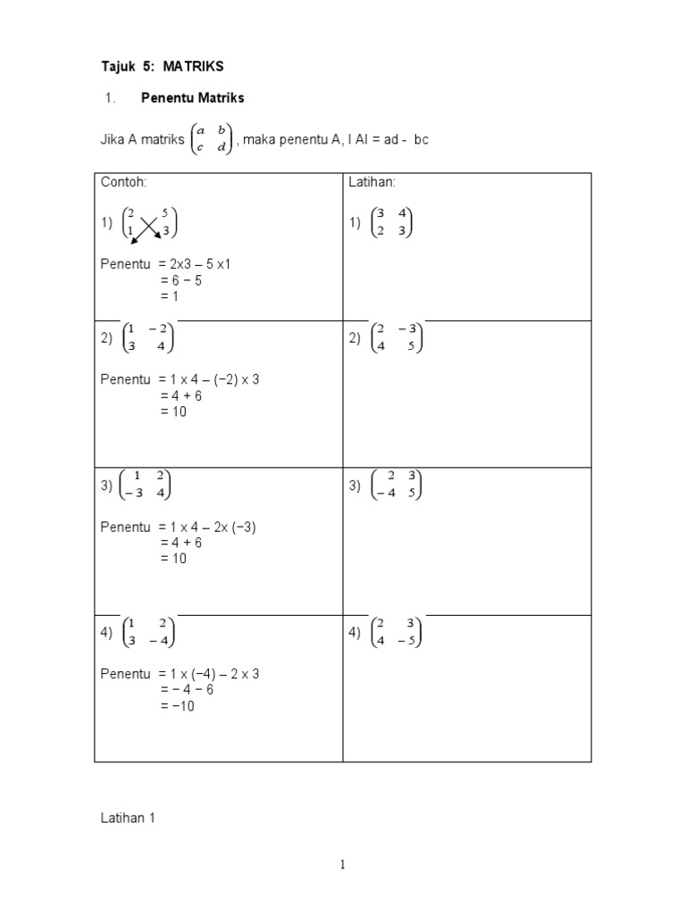 Tajuk 5 Matriks