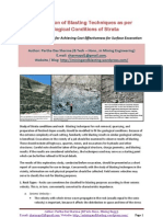 Modification of Blasting Techniques as Per Geological Conditions of Strata