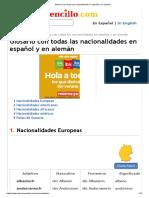 Glosario con todas las nacionalidades en español y en alemán