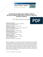 Gestao Das Baterias Recarregaveis Dos Transceptores Portateis Na PMMG - Artigo Apresentado no SSIA CEFET