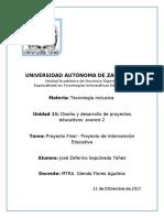 Proyecto Final - Proyecto de Intervención Educativa