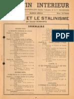 Laurent Schwartz, L'URSS et le stalinisme, Bulletin Intérieur du Parti Communiste Internationaliste, N° 32, sans date [ca. fin 1946]