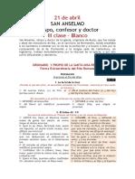 21 de Abril de 2020. San Anselmo. Propio y Ordinario. PLAN CONTRA COVID-19