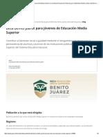 Beca Benito Juárez para jóvenes de Educación Media Superior _ Coordinación Nacional de Becas para el Bienestar Benito Juárez _ Gobierno _ gob