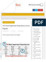 100 Most Important Preposition List in English - English Study Here