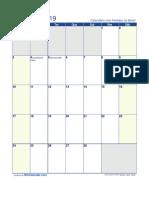Calendario Fevereiro 2019