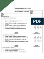 Checklist for Internal Plastering
