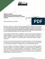 Carta de ANFUCULTURA  a Directorio Nacional CNCA