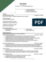olivia wong resume 2020