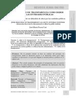 El Principio de Transparencia Como Deber de Las Entidades Públicas - Autor José María Pacori Cari